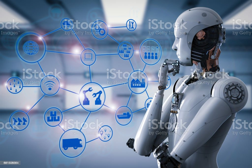 android robot with industrial network stock photo