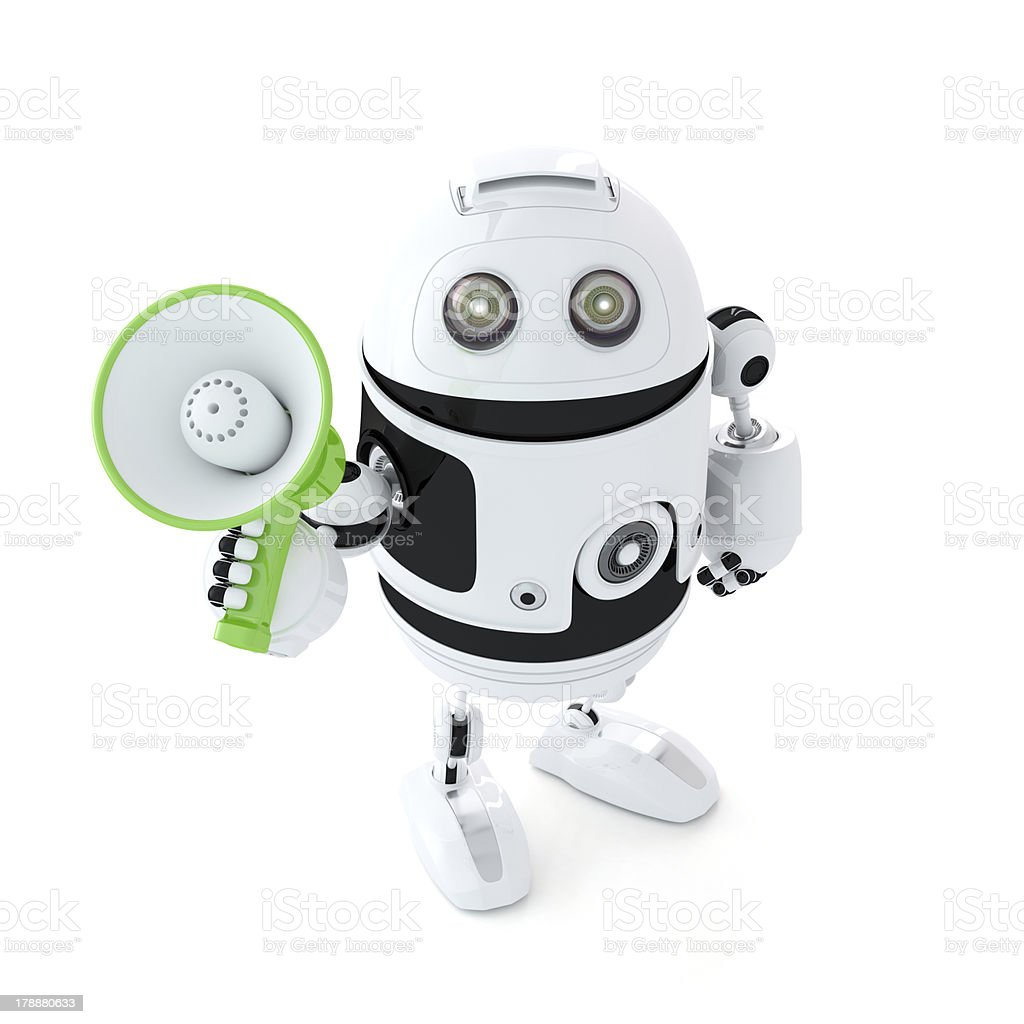 Android shouting through megaphone royalty-free stock photo