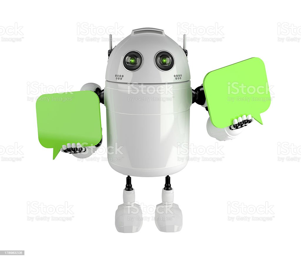 Android with two chat bubbles stock photo