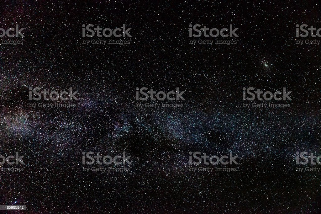 Andromeda Galaxy & Milky Way stock photo