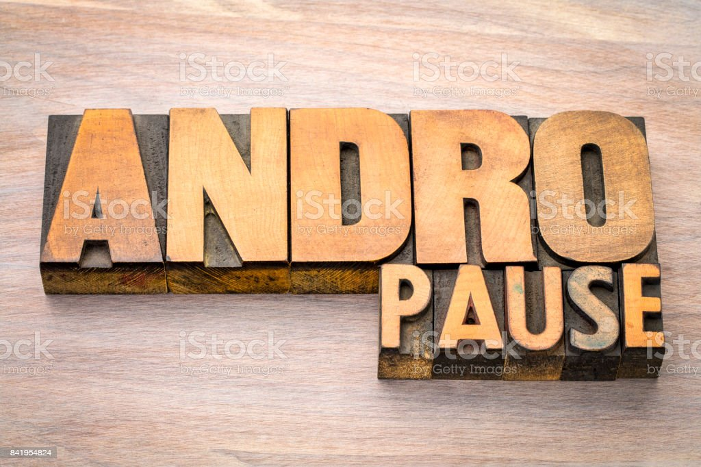 andropause word abstract in wood  type stock photo