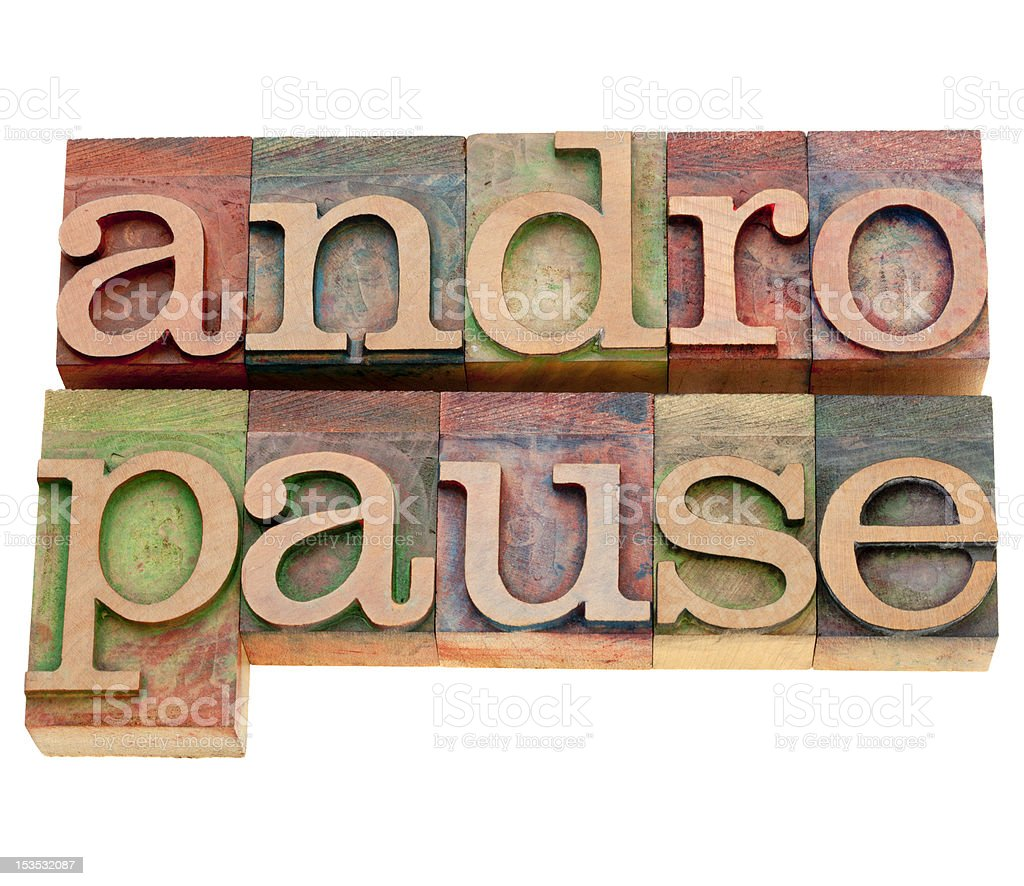 andropause word in letterpress type stock photo