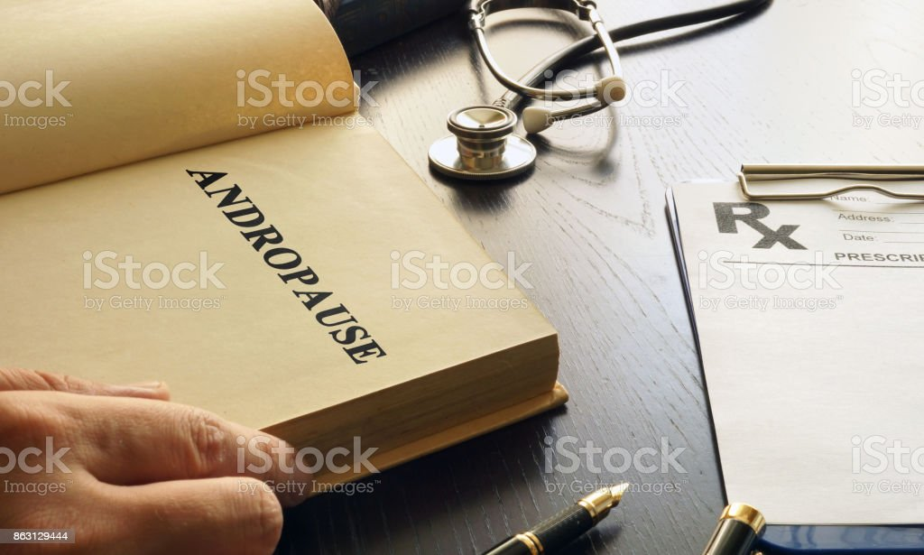 Andropause written in a book. Male Menopause or Manopause concept. stock photo