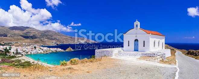 Panoramic view of Andros island,Greece.