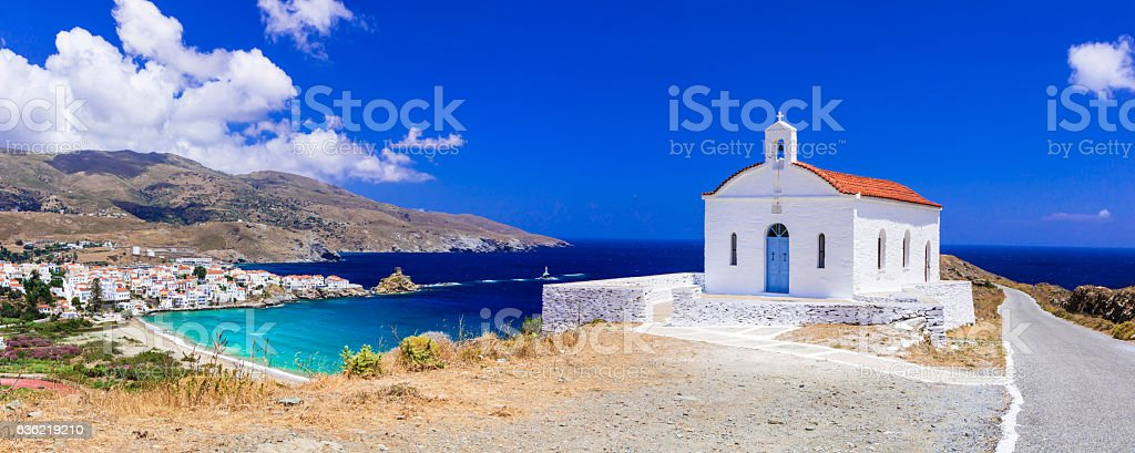 Andros island, panoramic view,Greece. stock photo