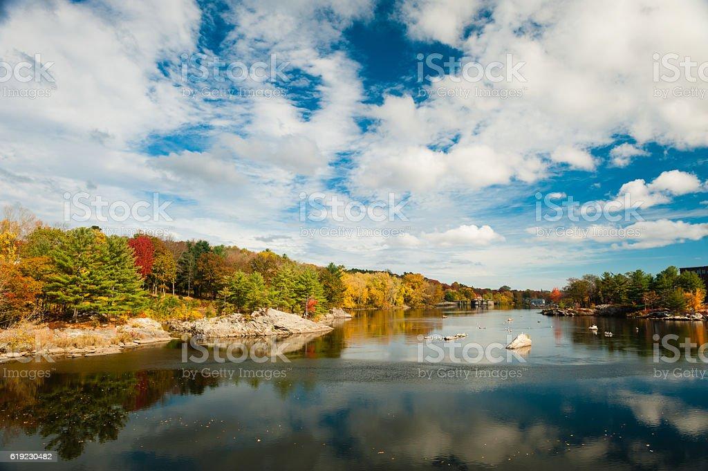Androscoggin River in Brunswick, Maine with fall foliage stock photo