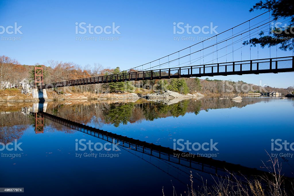Androscoggin Swinging Bridge,  Brunswick, Maine stock photo