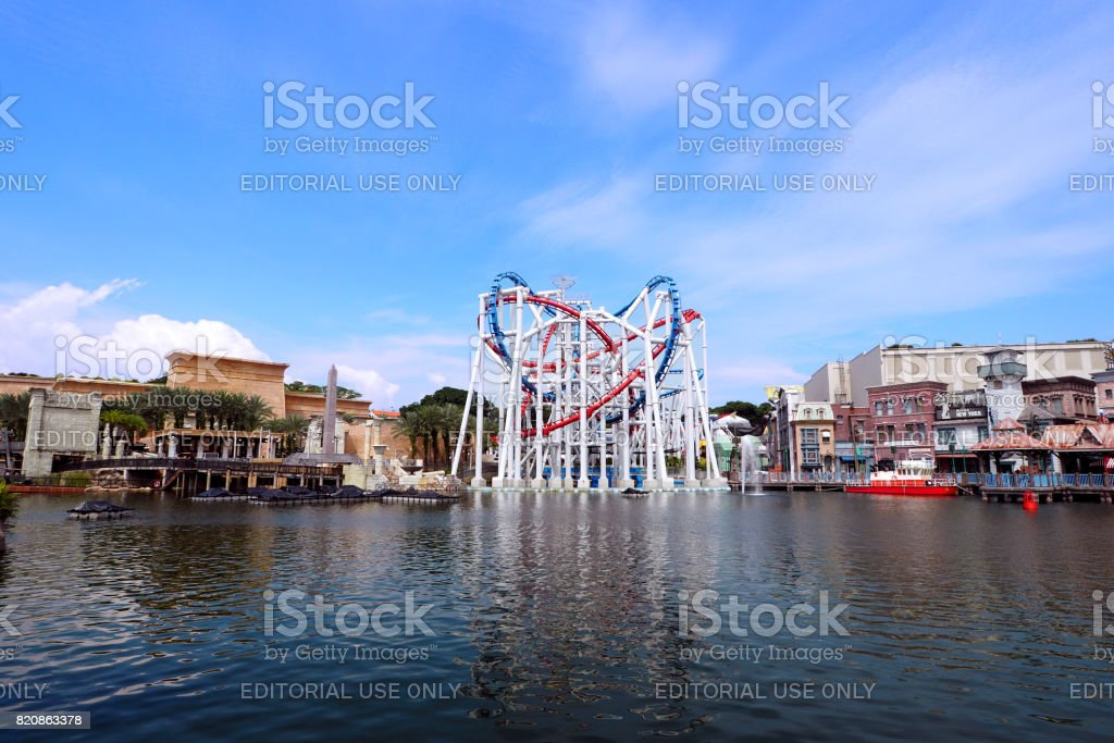 andscape of Roller coaster loops red and blue line at Universal Studios Singapore stock photo