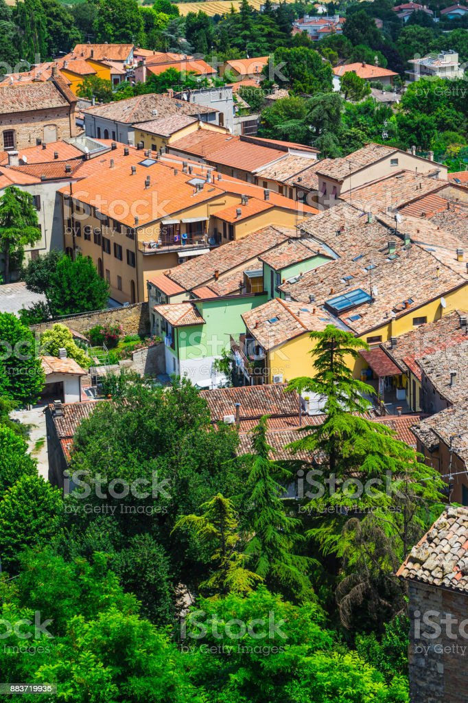 andscape with roofs of houses in small tuscan town in province stock photo