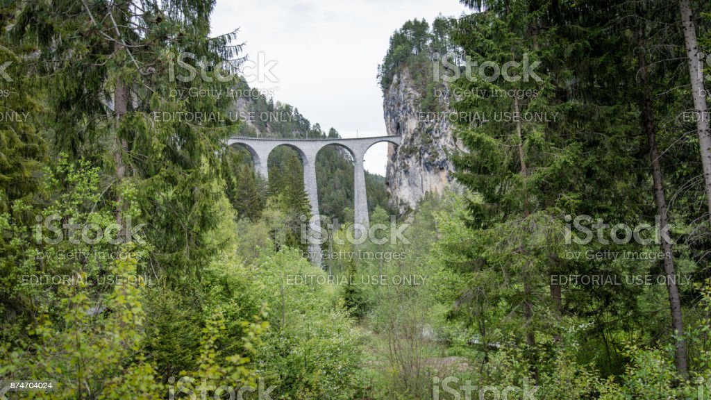 andwasser Viaduct railroad bridge, Switzerland stock photo