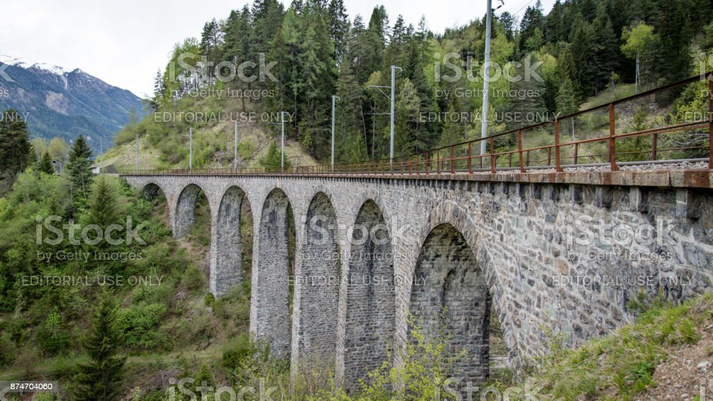 andwasser Viaduct railroad bridge, Switzerland stock photo