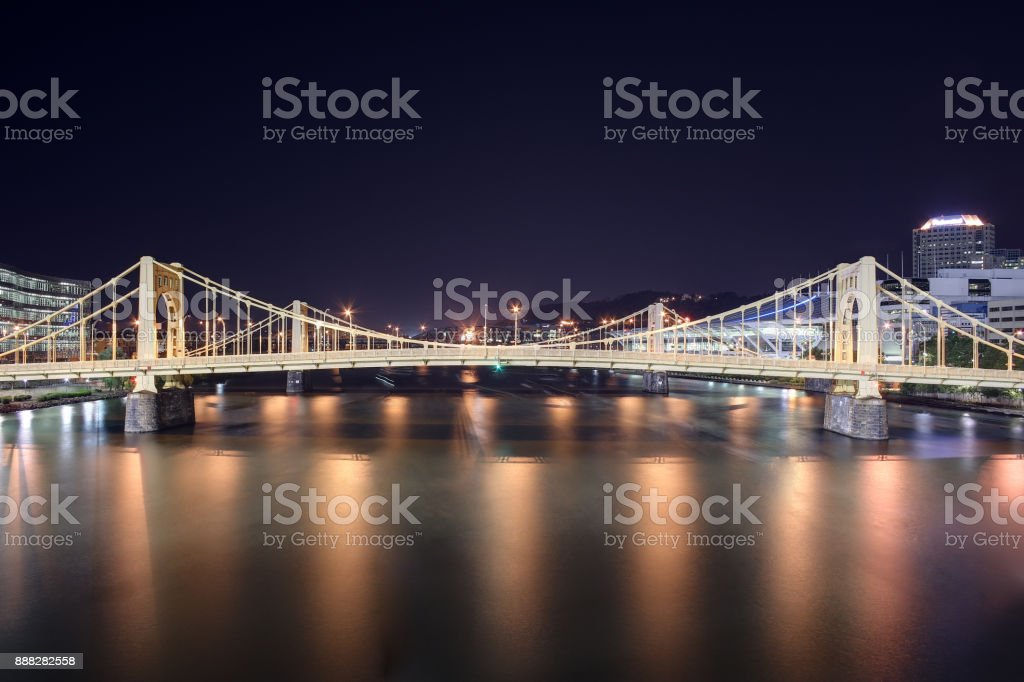 Andy Warhol Bridge overlooking the Allegheny River in Pittsburgh, Pennsylvania stock photo