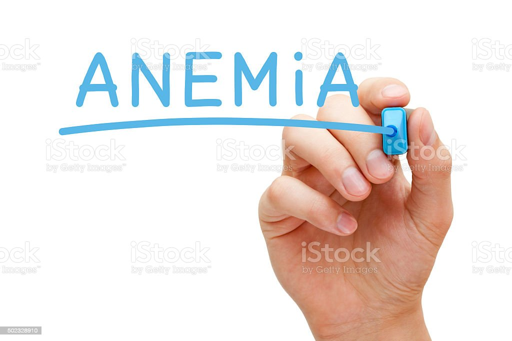 Anemia Blue Marker stock photo