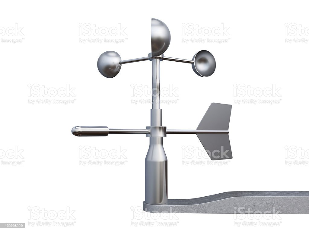 Anemometer, wind speed and direction measuring device. stock photo