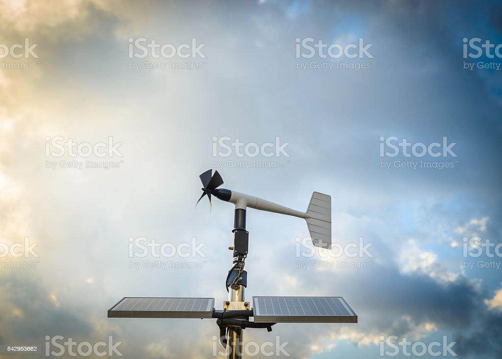 Anenometer against a dramatic sky stock photo