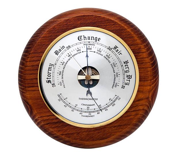 aneroid barometer on white - barometer bildbanksfoton och bilder