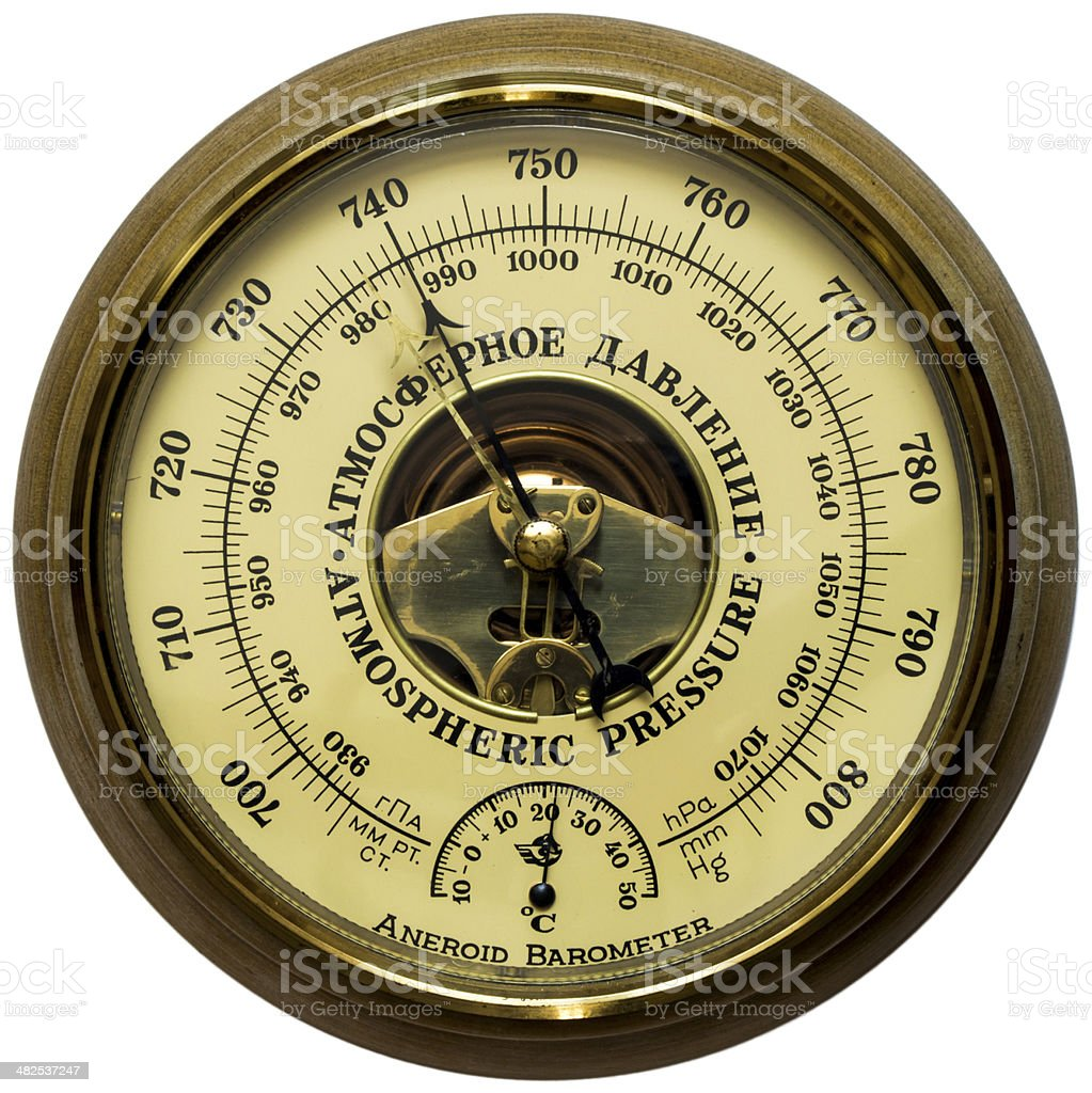 Aneroid barometer stock photo