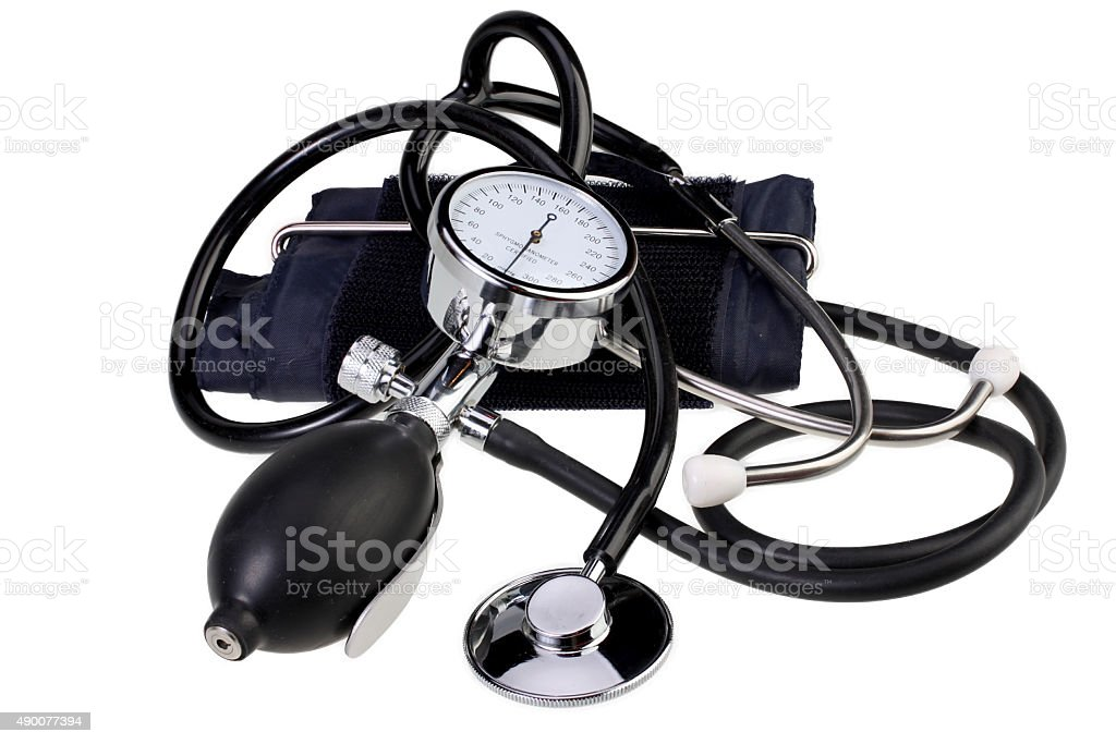 Aneroid Blood Pressure Kit  isolated on white with Clipping Path stock photo