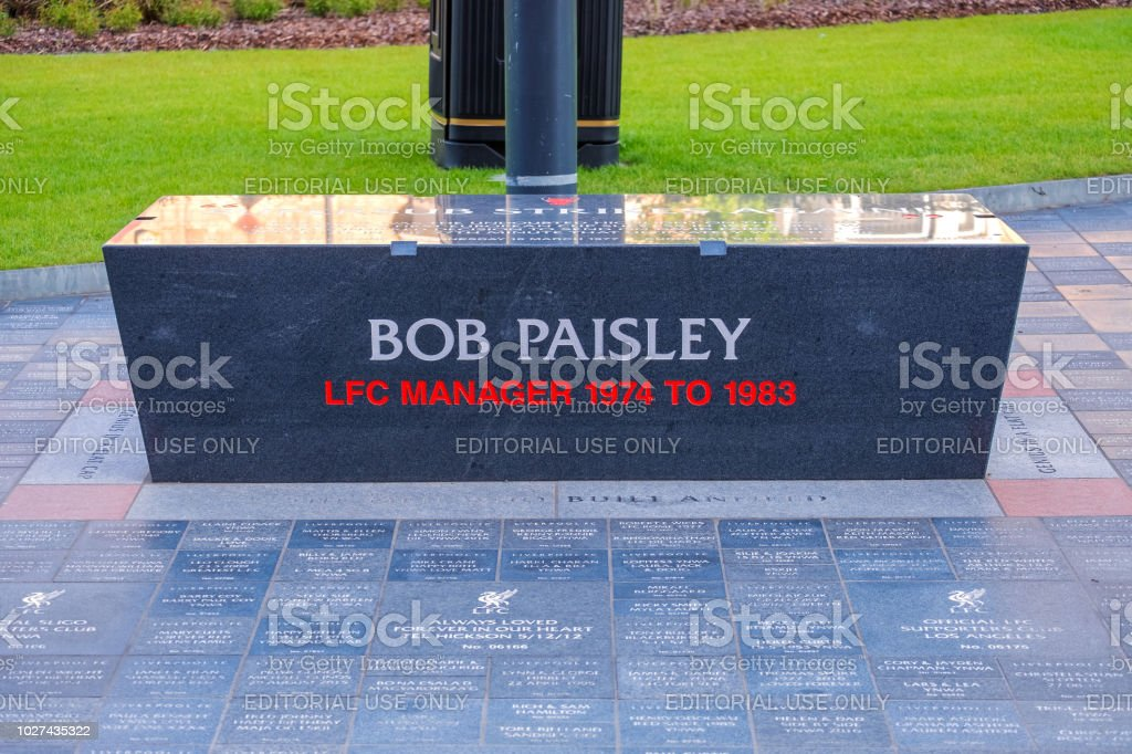 Anfield Forever - a landscaped area alongside the Anfield stadium Main Stand in Liverpool stock photo