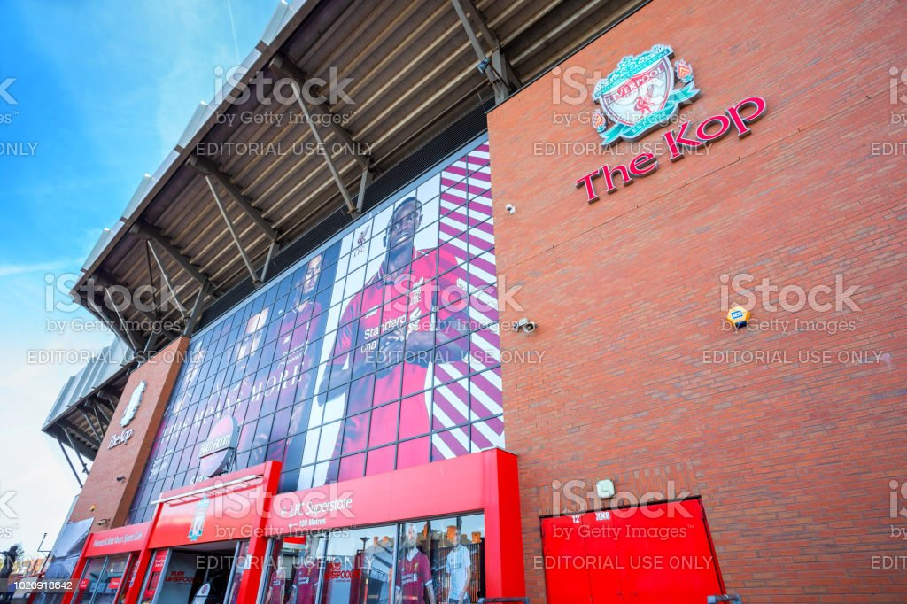 Anfield stadium, the home ground of Liverpool FC in UK stock photo