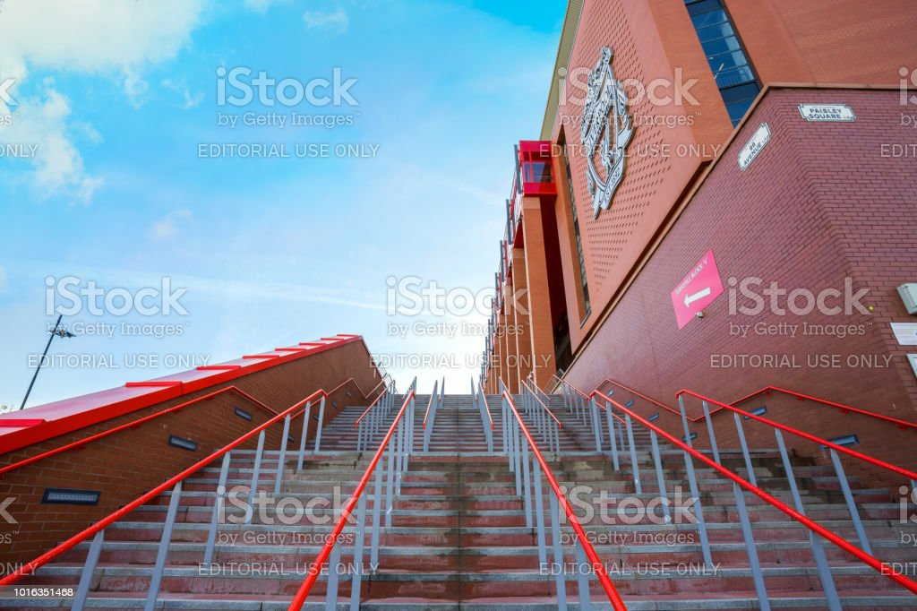 Anfield stadium, the home ground of Liverpool FC stock photo