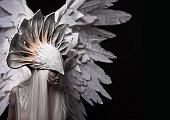 Angel, costume, concept, cinematic, a portrait of a young girl and a white wig , which carries a large white mask and a large white wings. Dramatic