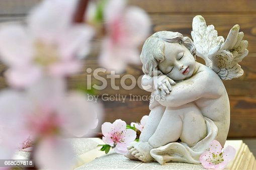 istock Angel and and spring flowers on wooden background 668057818