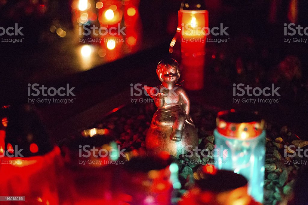 Angel and candles stock photo