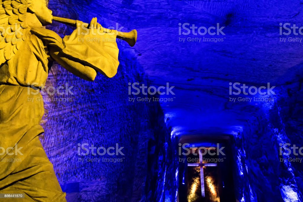 Angel and cross in Zipaquira Salt Cathedral stock photo