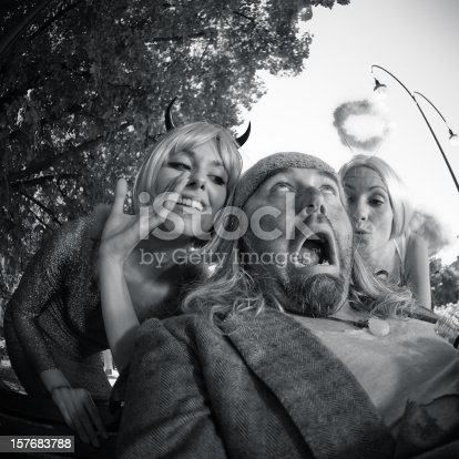 istock Angel and devil advice to an  Homeless - Opposite Personalities 157683788