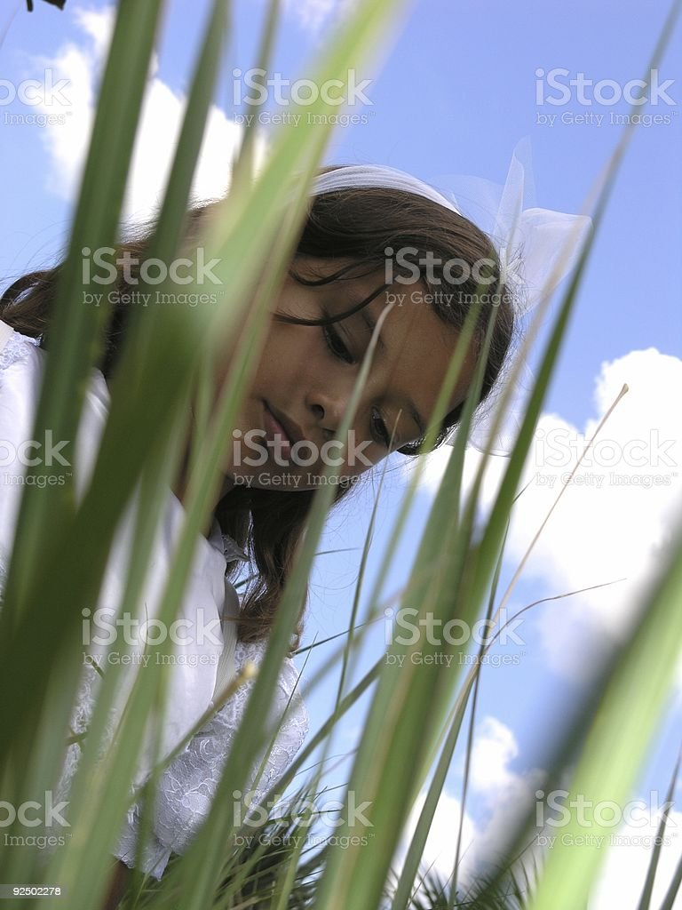 Angel and Grass royalty-free stock photo