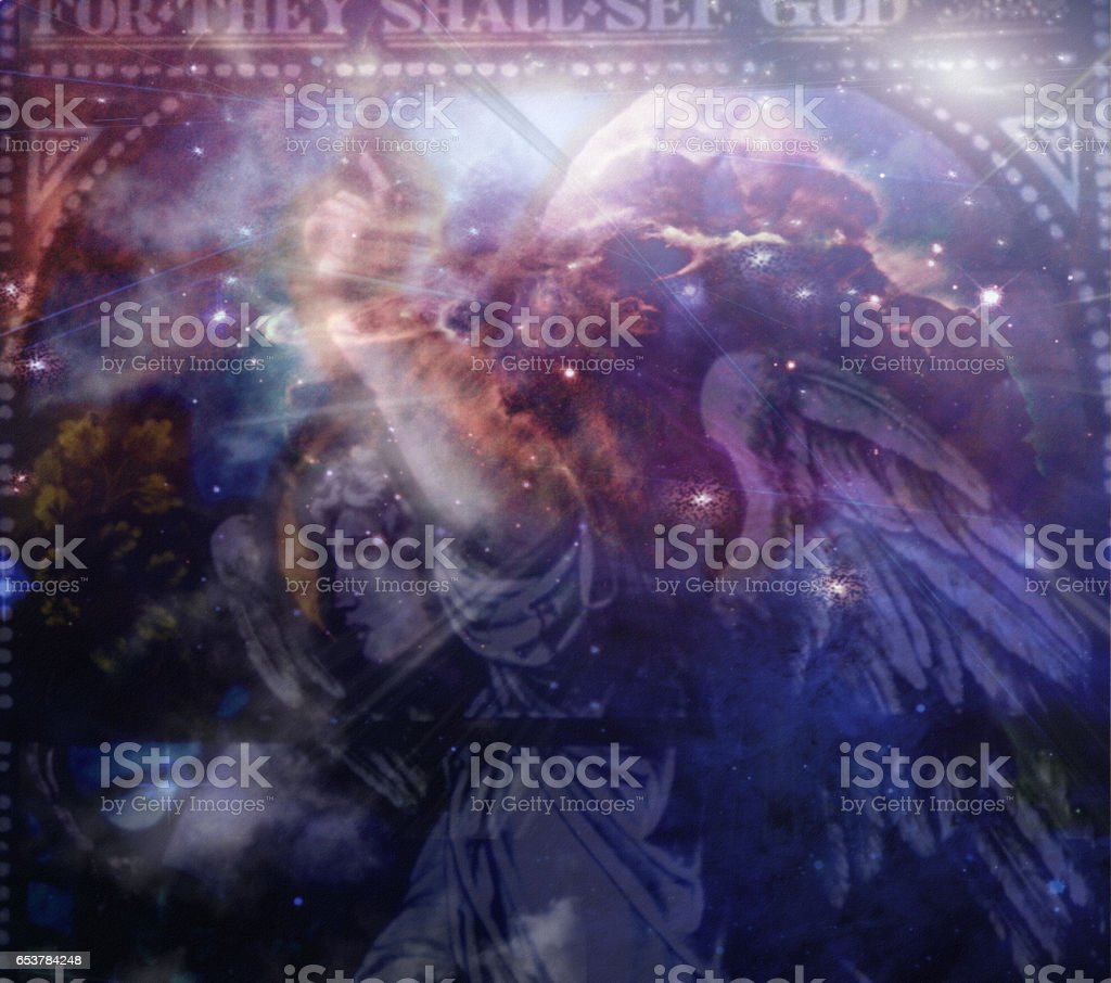 Angel and heaveanly composition stock photo