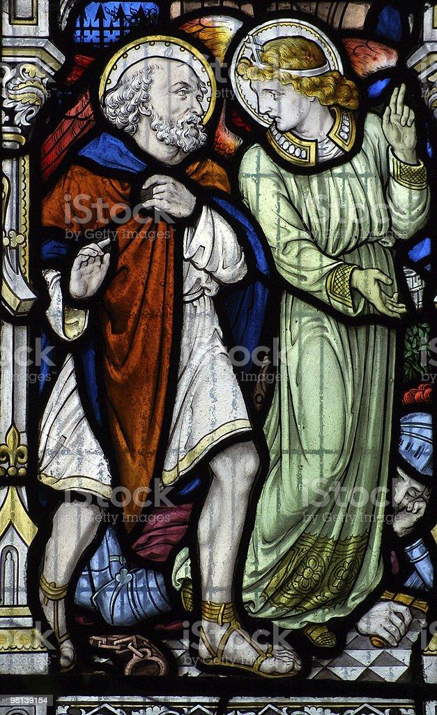 Angel and Saint Leonard of Noblac royalty-free stock photo
