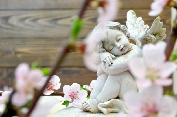 engel und frühling blumen - trauer verlust stock-fotos und bilder