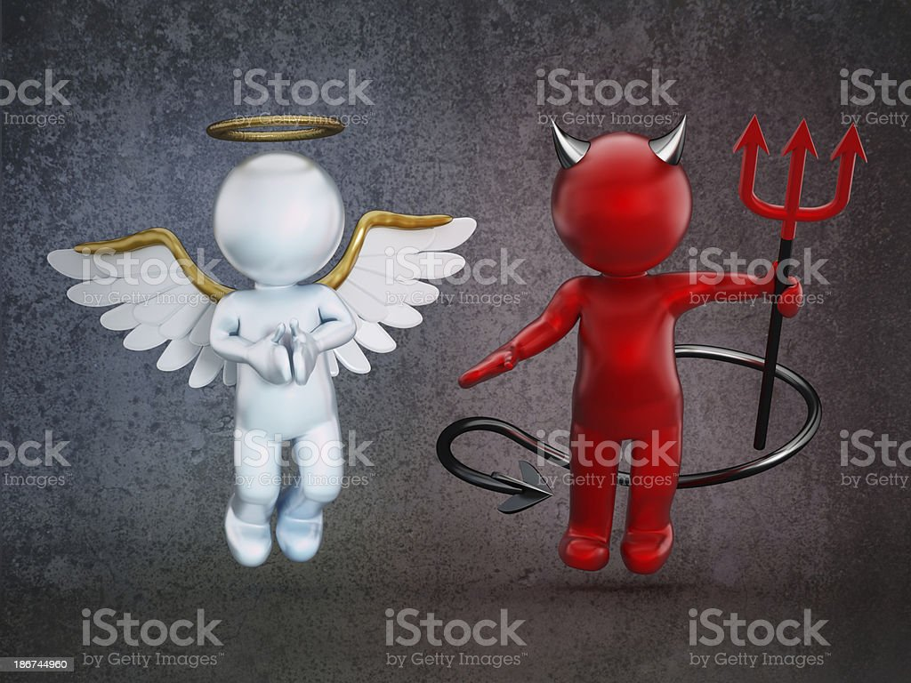 Angel and the devil stock photo