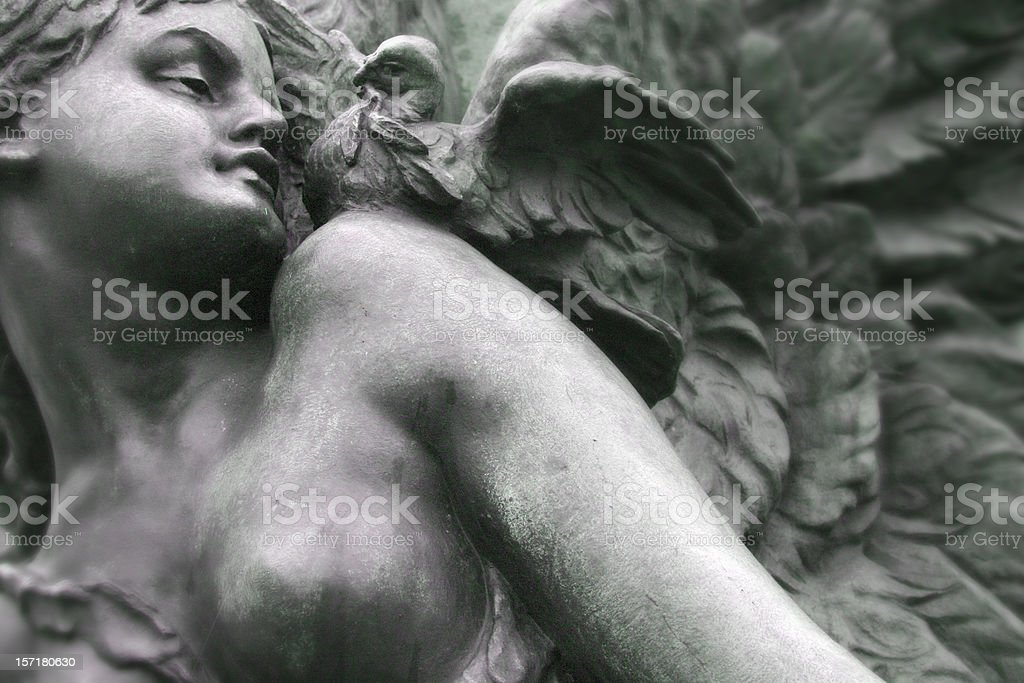 angel and the dove memorial statue detail royalty-free stock photo