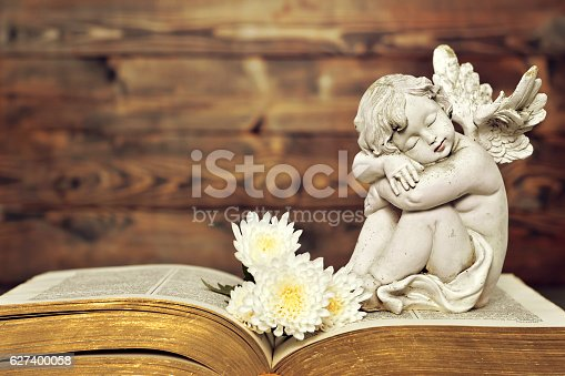 istock Angel and white flowers on old book 627400058