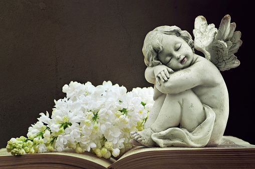 Angel and white lilac flower on old book