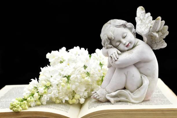 angel and white spring flowers on the old book - fare la guardia foto e immagini stock