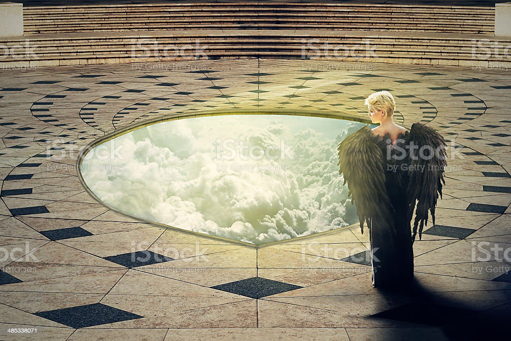 Angel at the hole of Heaven stock photo