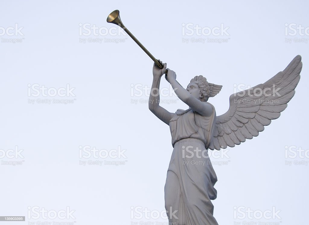 Angel Blowing Horn stock photo