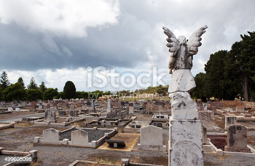 Angel body statue  and cemetery view and Cloud Sky