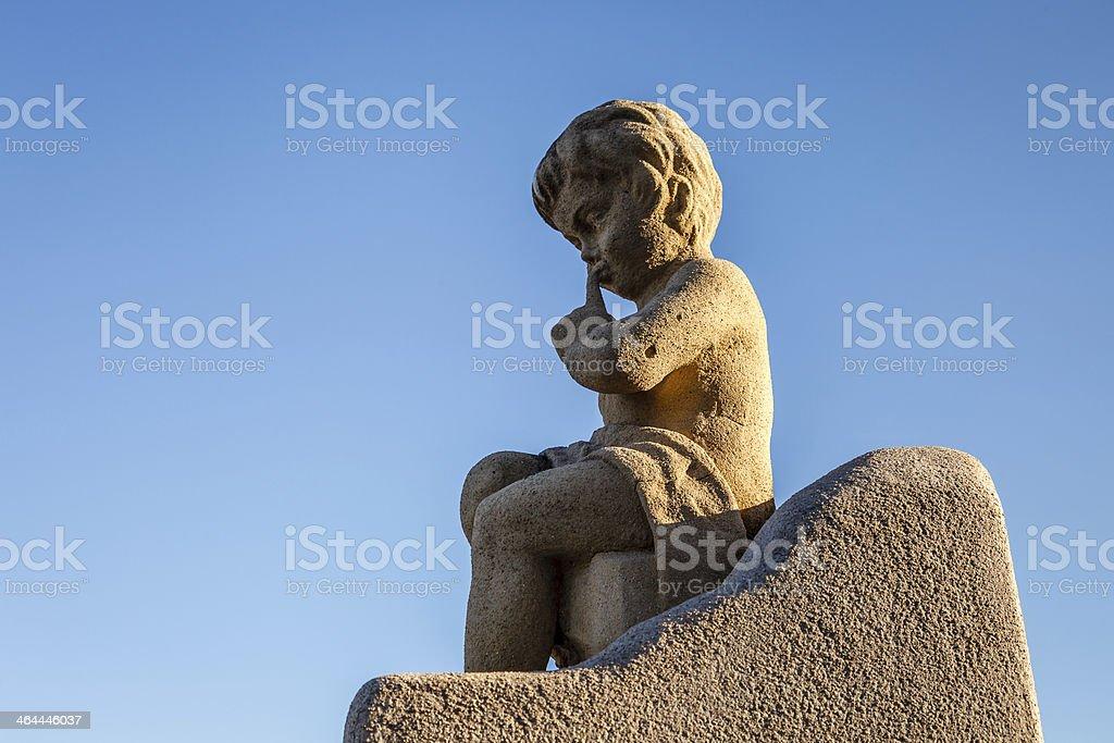 Angel Boy Statue near the Notre-Dame de la Garde royalty-free stock photo