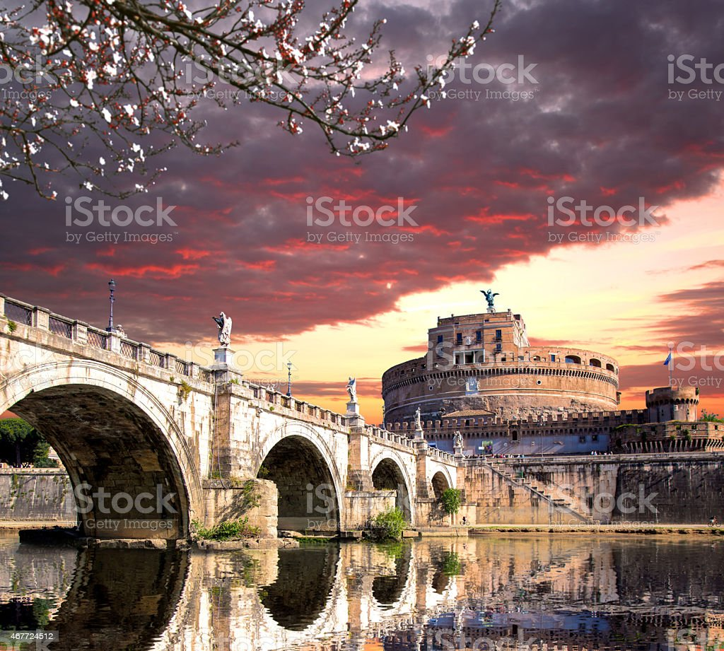 Angel Castle with bridge on Tiber river in Rome, Italy stock photo