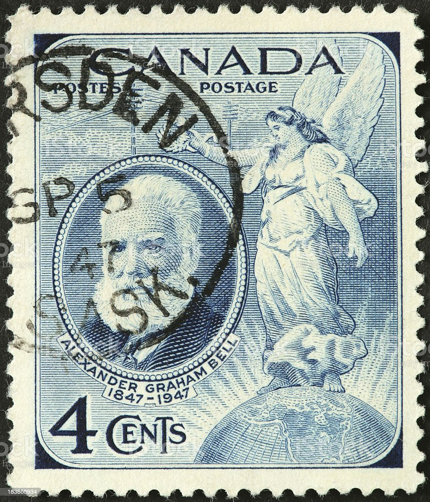 angel crowning Alexander Graham Bell on a Canadian postage stamp stock photo