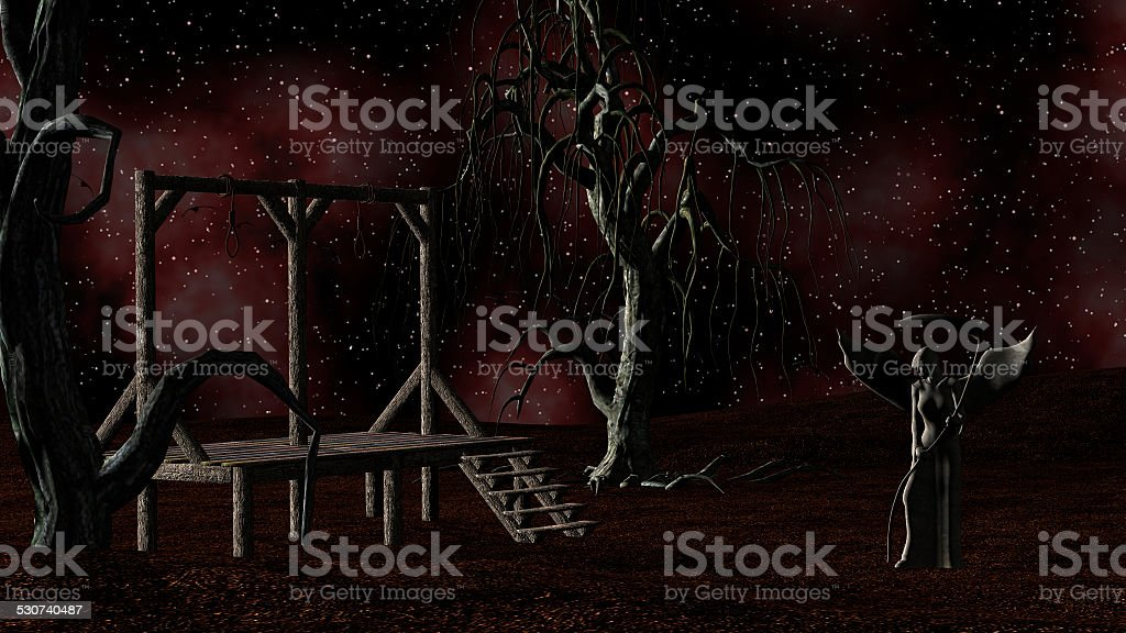 Angel Death - Night with Gallows, Crows and Creepy Trees stock photo