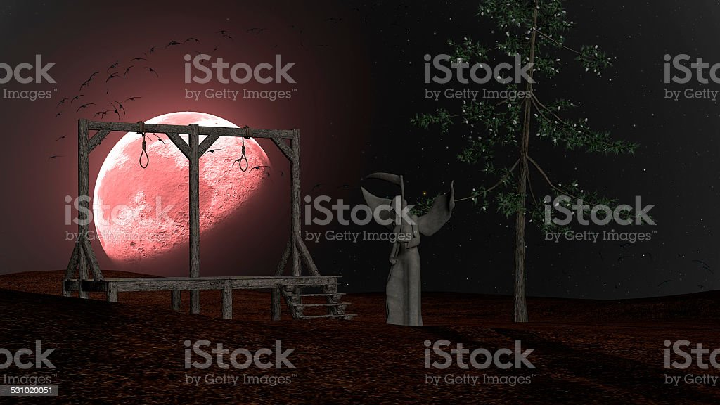 Angel Death - Night with Gallows, Crows and Red Moon stock photo