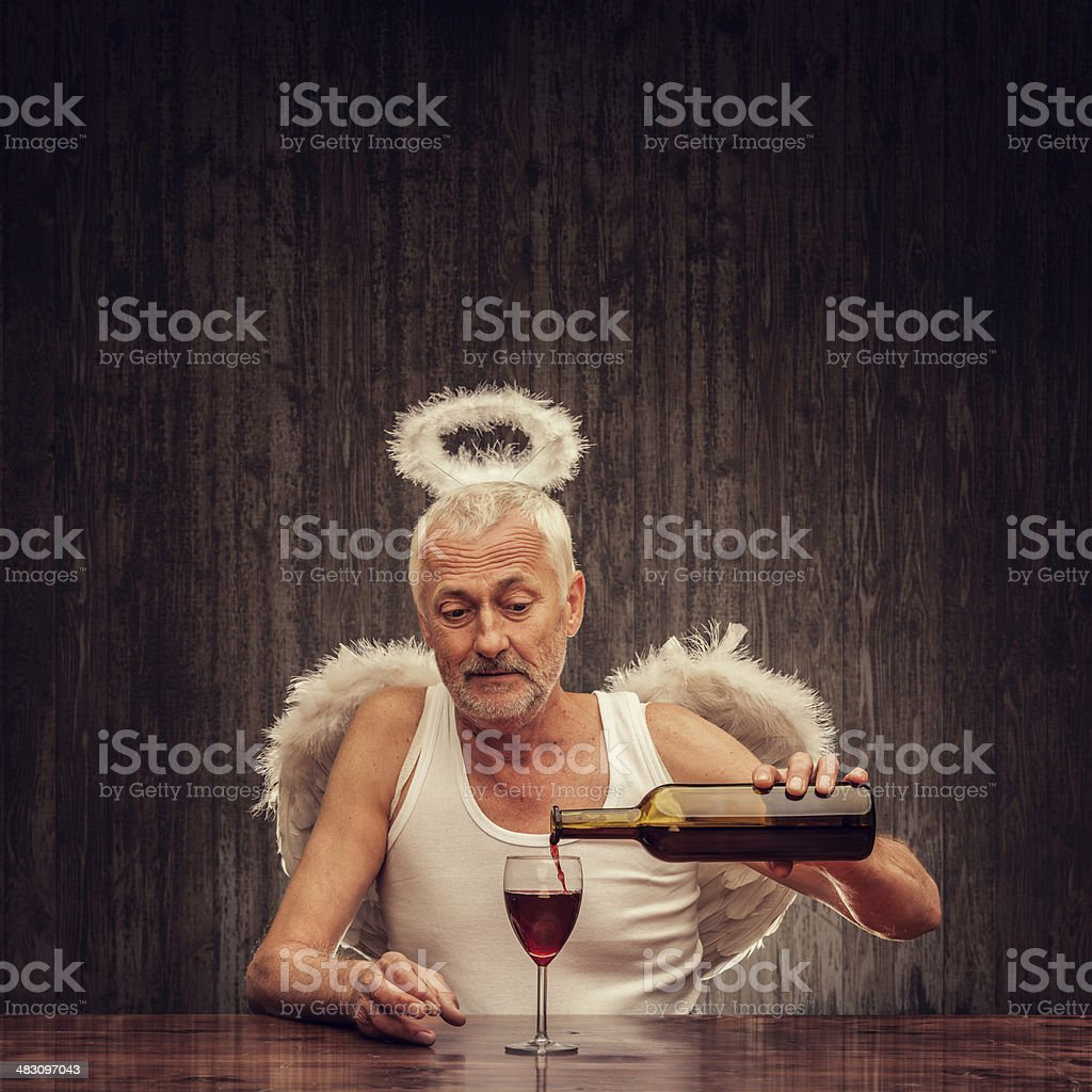 angel drinking in a pub royalty-free stock photo