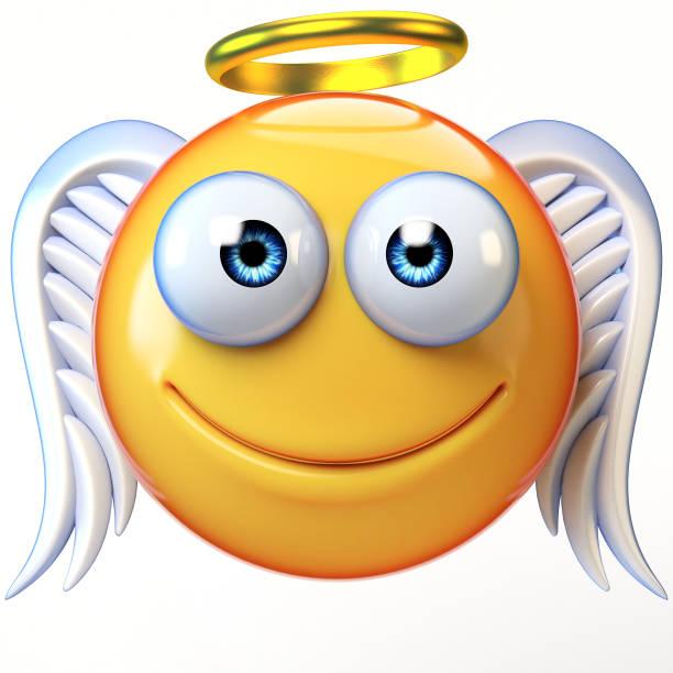 engel emoji isoliert auf weißem hintergrund, emoticon mit flügeln und heiligenschein 3d-rendering - schmuck engel stock-fotos und bilder