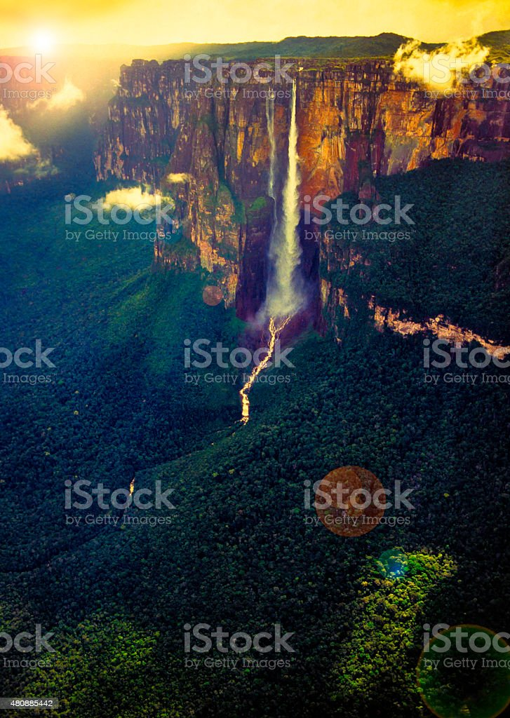 Angel Fall The Most Highest Waterfall  Of The World stock photo